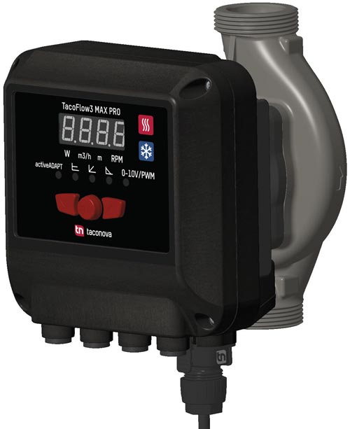 Die TacoFlow3 MAX PRO beinhaltet im Vergleich zur TacoFlow3 MAX einige zusätzliche Features, beispielsweise eine Nachtabsenkung. Außerdem erleichtern die Informationen auf dem LED-Farbdisplay die Inbetriebnahme sowie Überprüfung der Anlage.