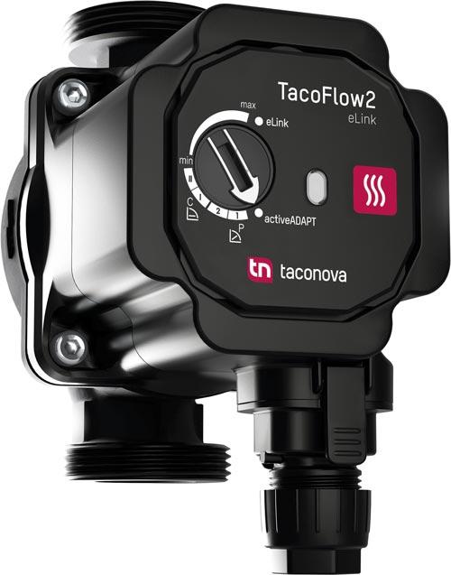 Die TacoFlow2 eLink kommt in Ein- und Zweirohrheizungen, Fußbodenheizungen sowie in Solaranlagen zum Einsatz und lässt sich ganz komfortabel via eLink-App steuern.