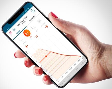 In der übersichtlichen eLink-App können direkt auf dem Touchscreen jeweils neun Proportionaldruck- und Konstantdruckkurven für die TacoFlow2 eLink eingestellt werden.