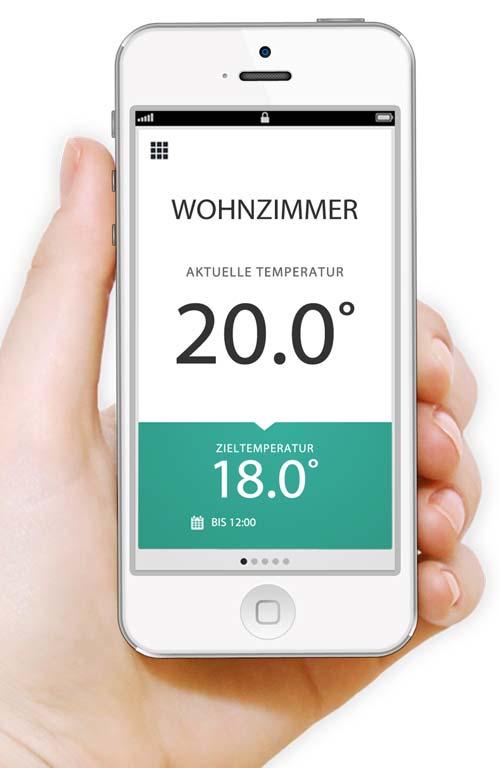 Die-GebäudeTechnik.de - Der Adventskalender 2019 - Nie mehr in eine kalte Wohnung kommen: Via App kann die gewünschte Temperatur auch von unterwegs mit dem Smartphone eingestellt werden, so dass der Raum pünktlich zur Ankunft der Bewohner warm ist.